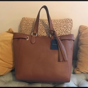 NWT Cole Han brown tasseled tote